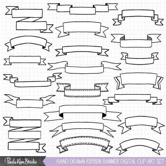 Hand drawn clip art. Banner clipart ribbon