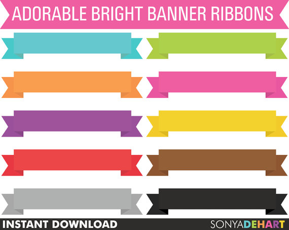 Banner clipart scrapbook. Ribbons digital commercial use