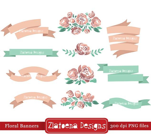 Banner clipart scrapbook. Floral digital scrapbooking shabby