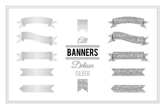 Clip art silver glitter. Banner clipart scrapbook