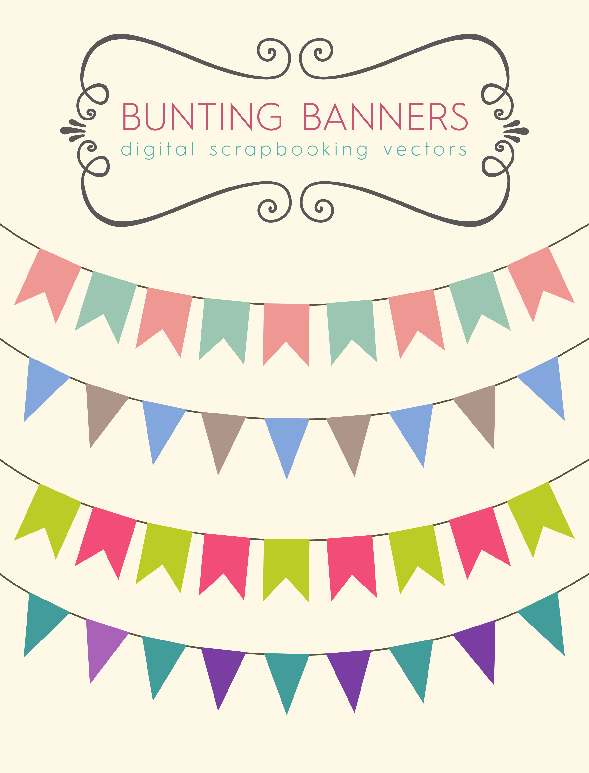Download these bunting banners. Banner clipart scrapbook