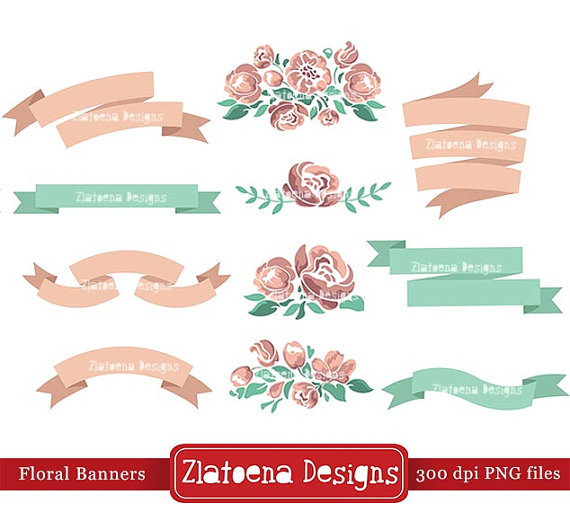 Banners clipart shabby chic. Floral banner digital scrapbooking