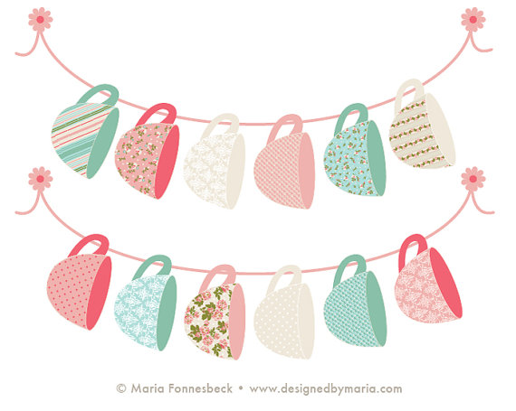 Banners clipart shabby chic. Blank tea cup party