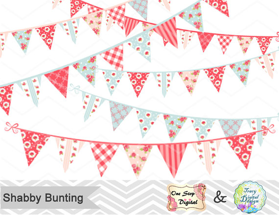 Banners clipart shabby chic. Digital bunting banner clip