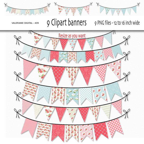 Digital bunting clip art. Banners clipart shabby chic