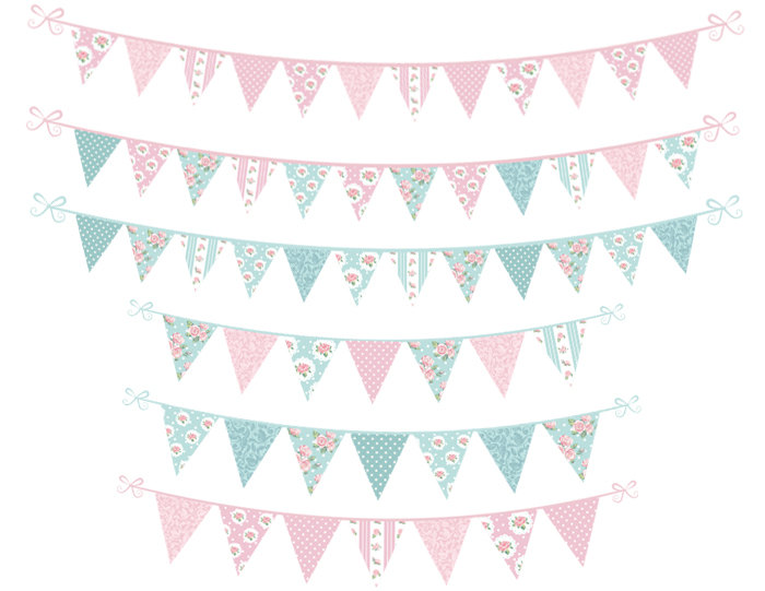 Digital bunting banner clip. Banners clipart shabby chic