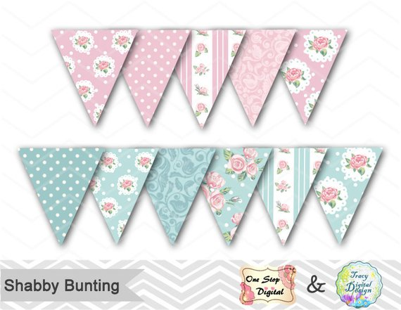 Printable bunting banner tea. Banners clipart shabby chic