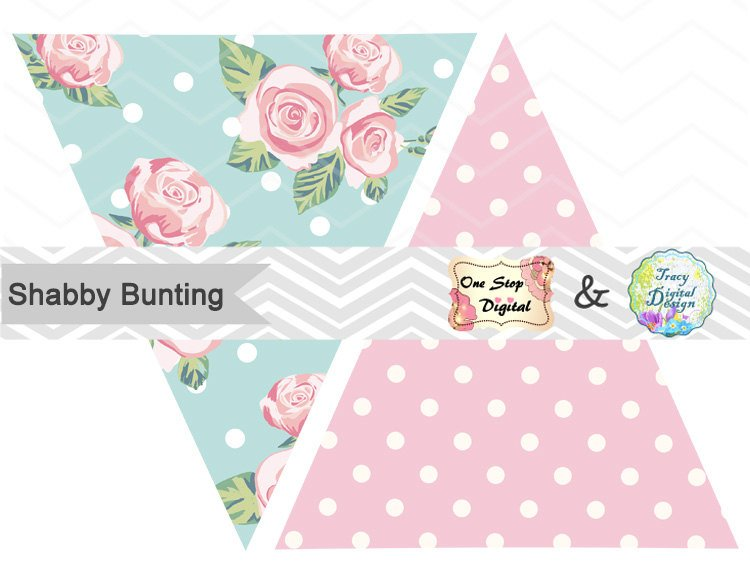 Banners clipart shabby chic. Printable bunting banner this