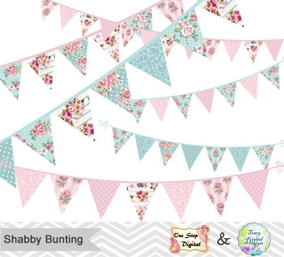 Banners clipart shabby chic. Digital bunting tea party