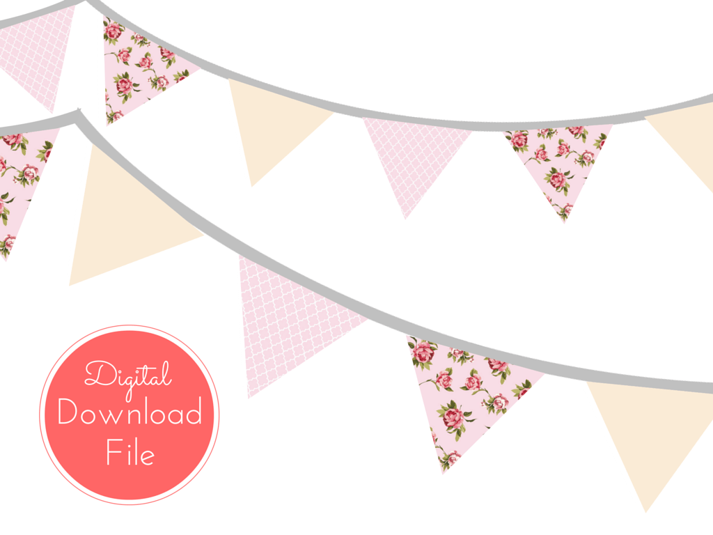 Pink banner pennant garland. Banners clipart shabby chic