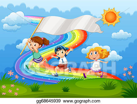 Banner clipart sky. Vector art kids running