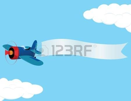 Plane retro airplane with. Banner clipart sky