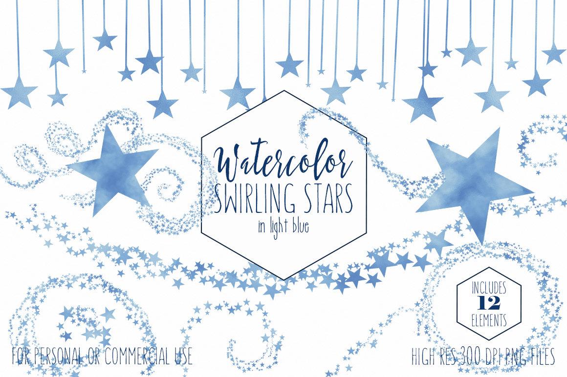 Banner clipart sky. Light blue star commercial