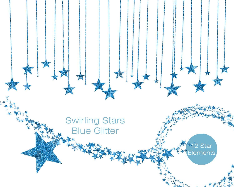 Blue glitter stars commercial. Banner clipart sky