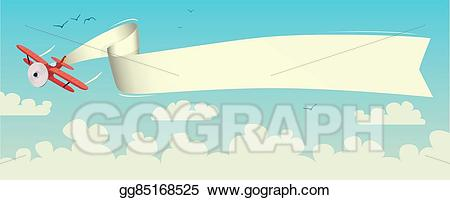 Vector art with drawing. Biplane clipart banner