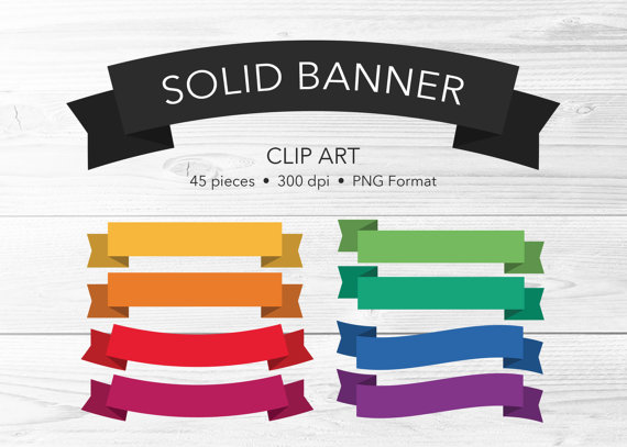 Clip art pieces bright. Banner clipart solid