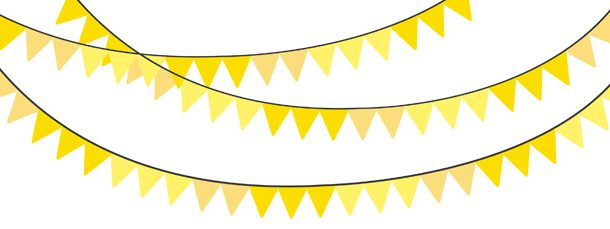 Color yellow bunting pack. Banner clipart solid