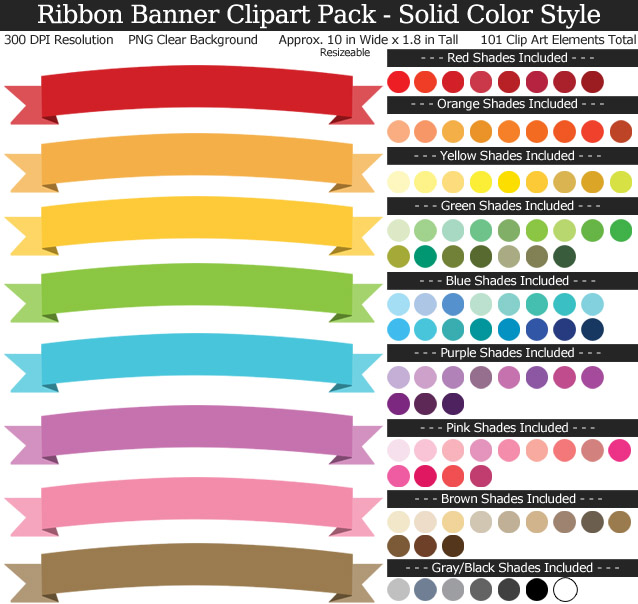 Ribbon pack rainbow clear. Banner clipart solid