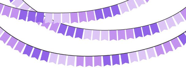 Purple bunting pack . Banner clipart solid