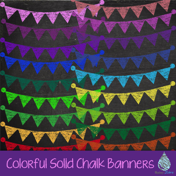 Colorful solid banner monochromatic. Chalk clipart colored chalk