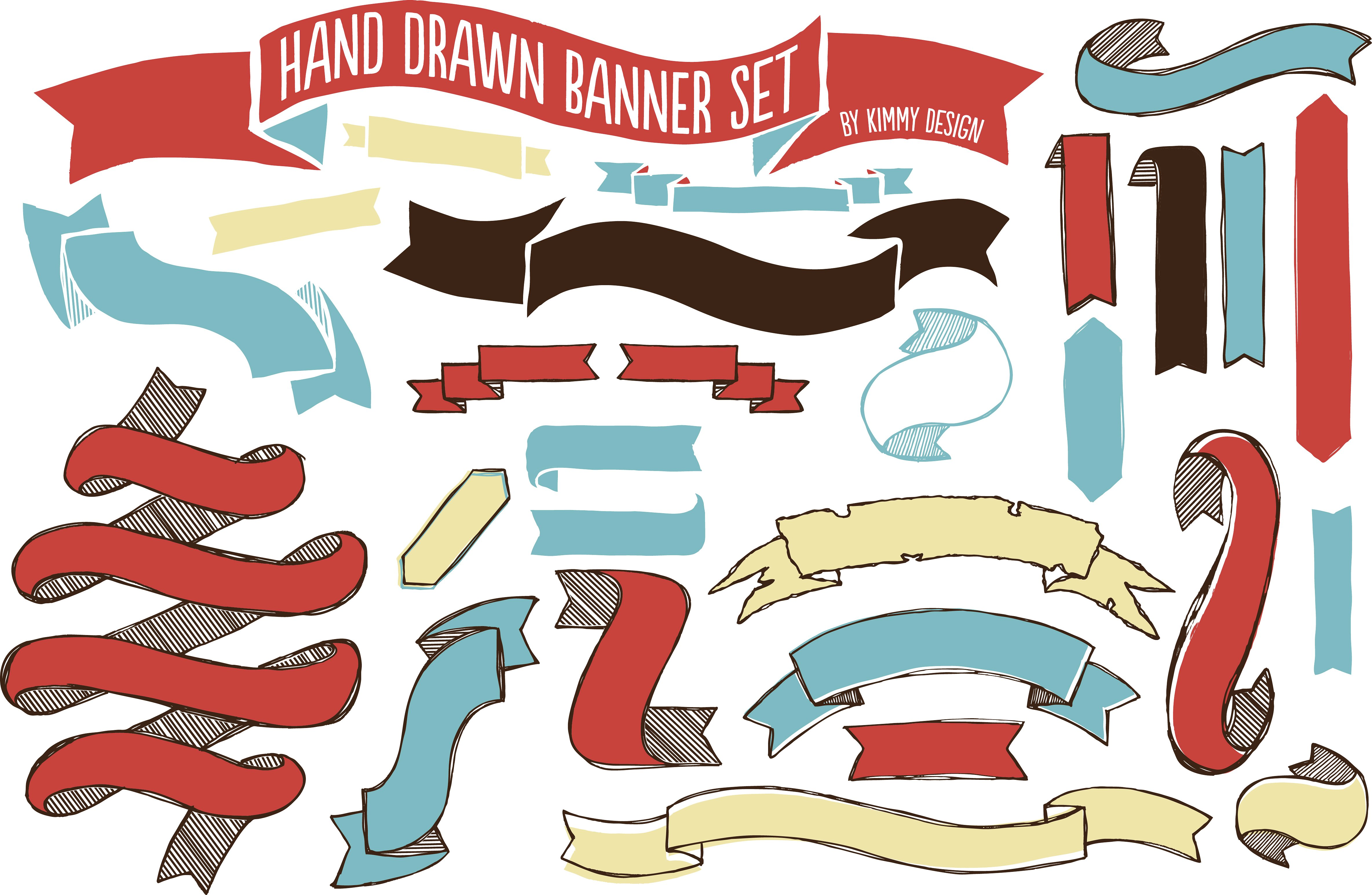 Hand drawn set objects. Banner clipart solid