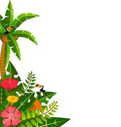 Blank luau invitation borders. Banner clipart tropical