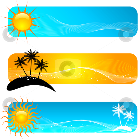 Banners stock vector various. Banner clipart tropical