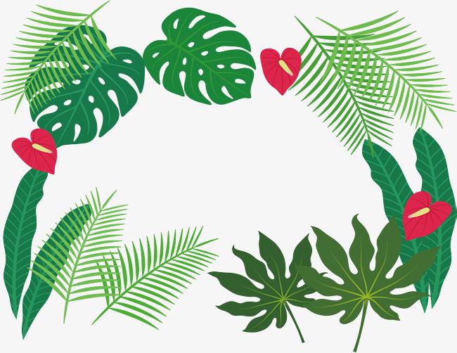 Bush clipart banner. Tropical plant leaves border