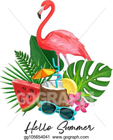 Sunglasses clipart tropical. Vector summer banner illustration