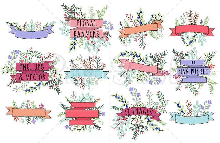 Banner clipart vector. Vintage floral illustrations creative