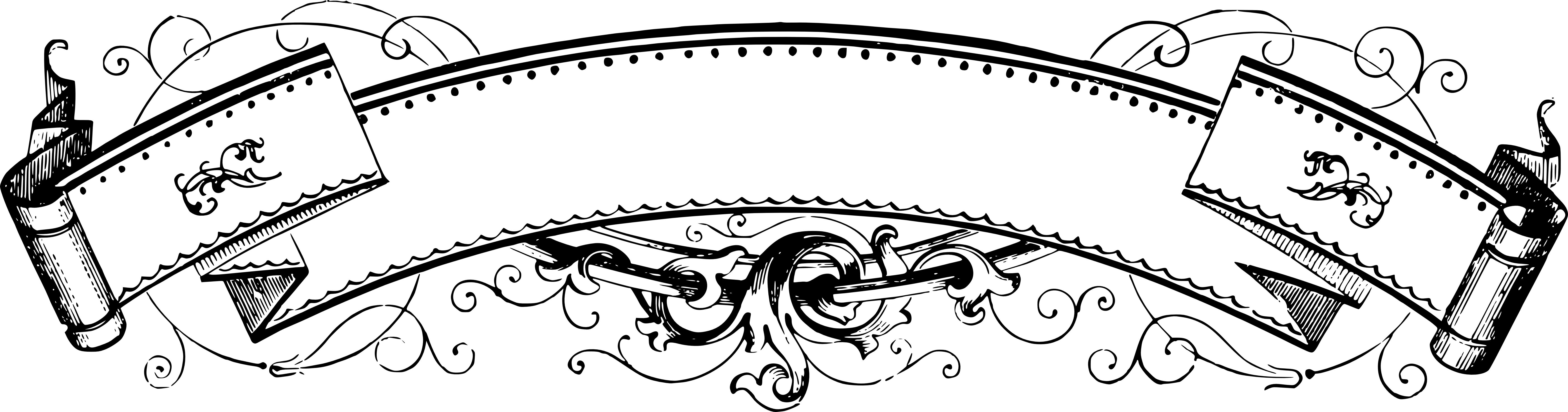 Banners clipart victorian. Ribbon pencil and in
