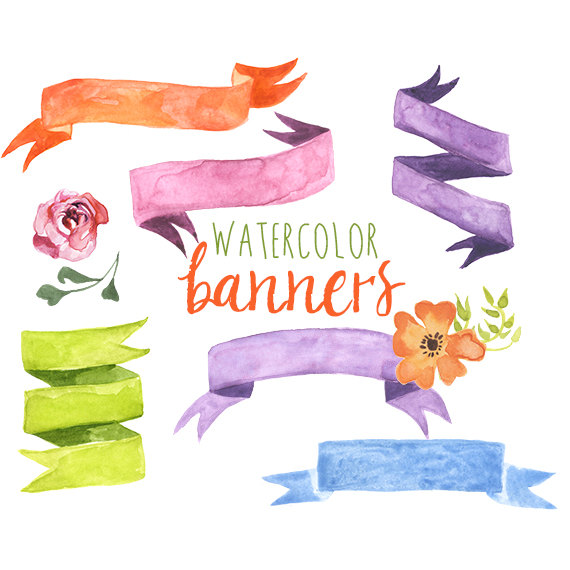 Watercolor banner . Banners clipart ribbon