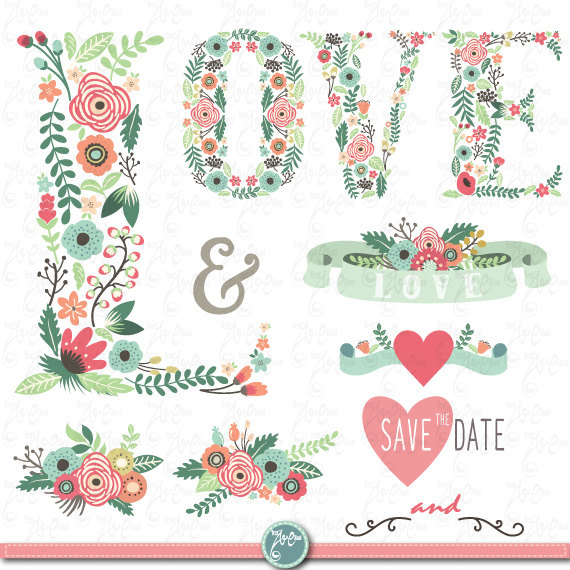 Banners clipart wedding. Floral love letter clip