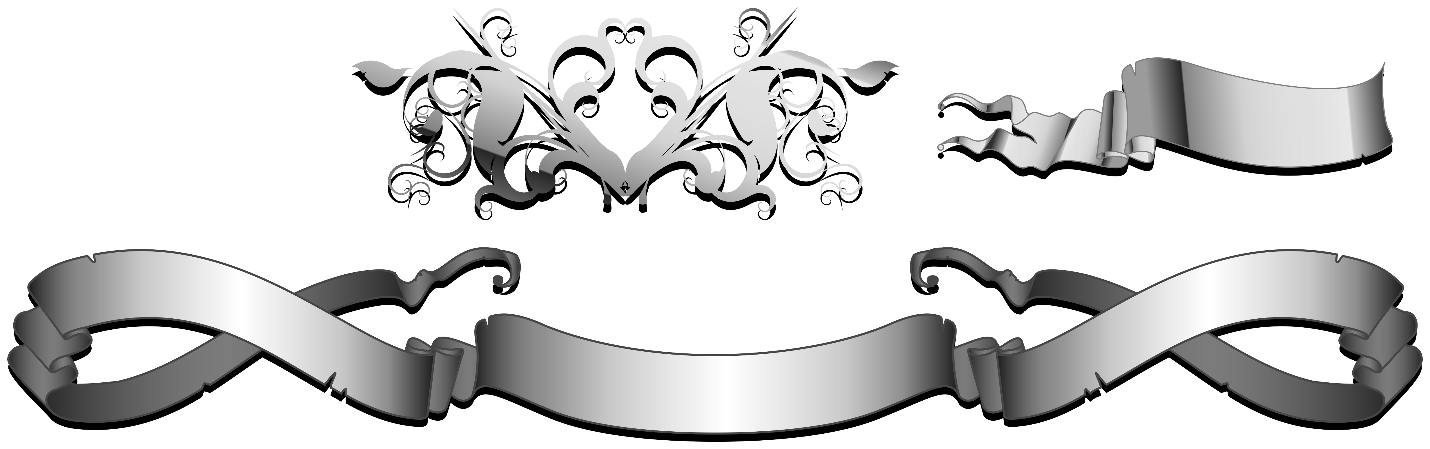 Banner vector black and white png. Silver ribbon transprent free
