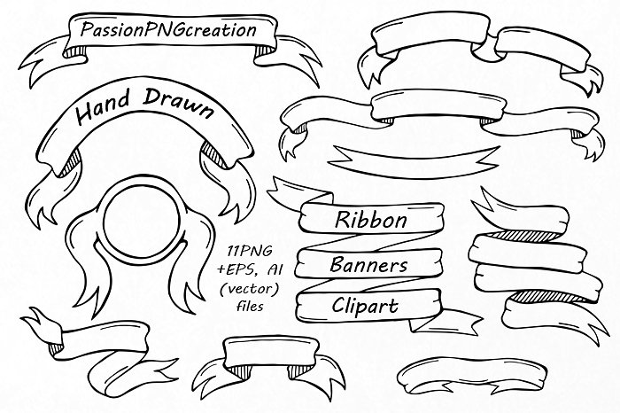 Banners clipart. Hand drawn ribbon illustrations