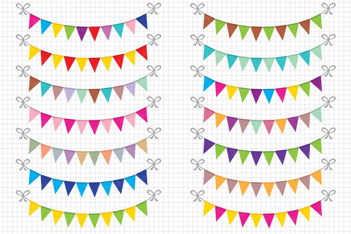 Banners clipart. Bunting party banner flag