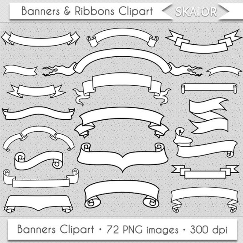 Banners clipart. Clip art ribbons doodle