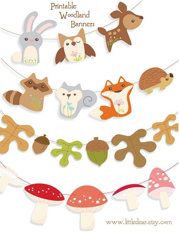 Banners clipart animal. Printable woodland animals banner