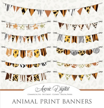 Print bunting banner clip. Banners clipart animal