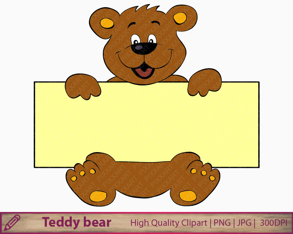 Bear banner teddy clip. Banners clipart animal