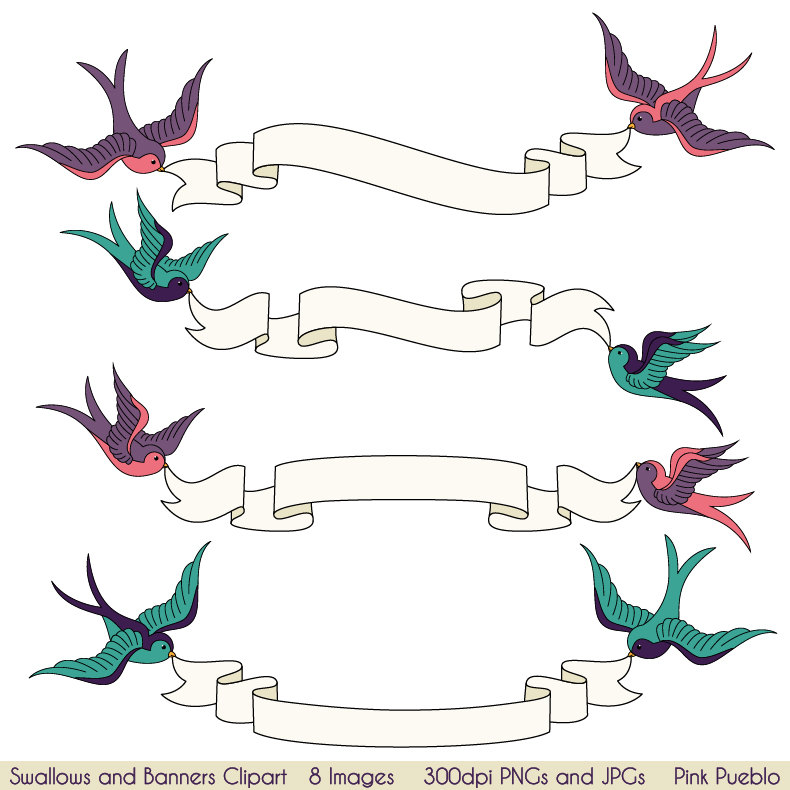 Banners clipart animal. Swallows and clip art