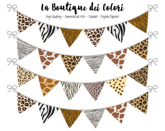 Prints party flags safari. Banners clipart animal