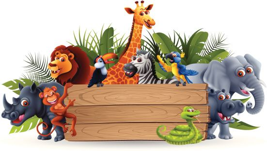 Banners clipart animal. Wild animals with banner