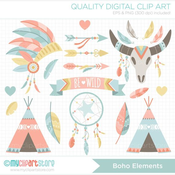 Boho clipart banner. Elements american indian tribal