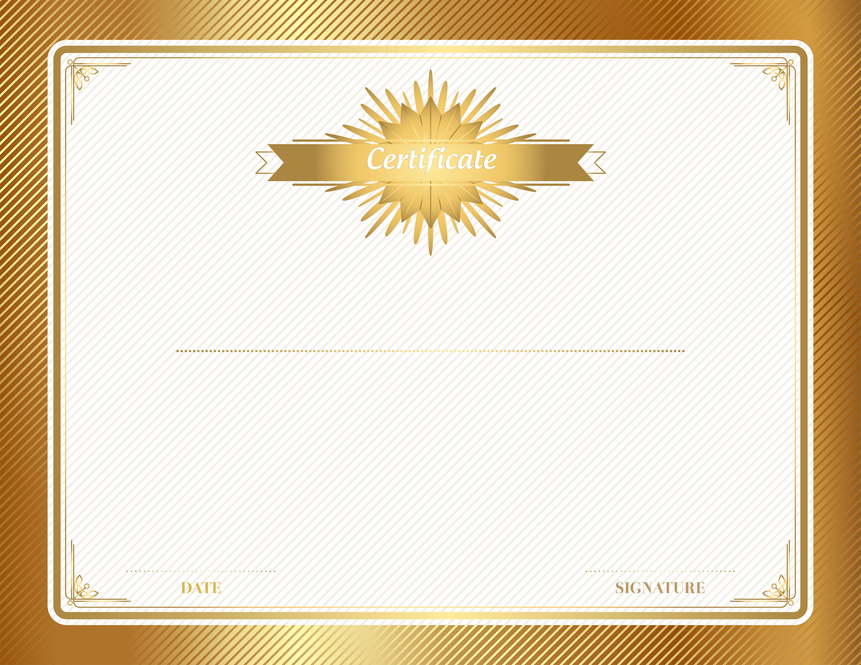 Banners clipart certificate. Gold template clip art