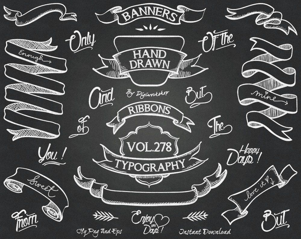 Banners clipart chalkboard. Clip art with hand