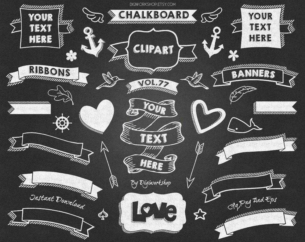 Banners clipart chalkboard. Clip art ii pack
