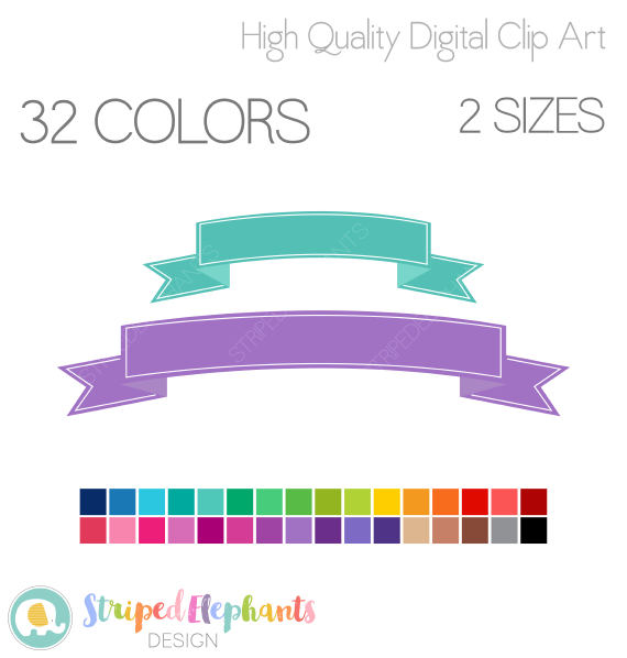 Banner flag digital clip. Banners clipart curved