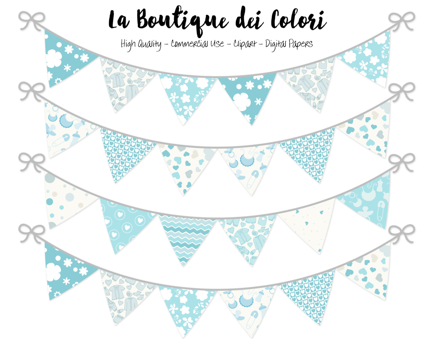 Banners clipart cute. Baby boy bunting party