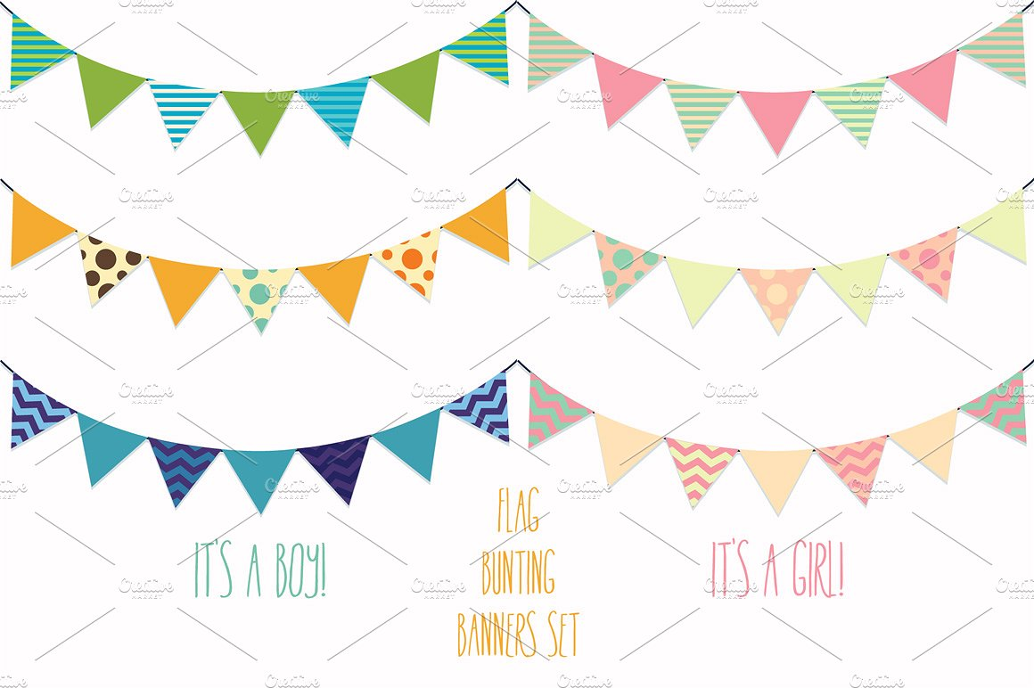 Banners clipart cute. Flag bunting vector illustrations